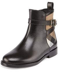 Burberry Leather And Check Ankle Boot - Lyst