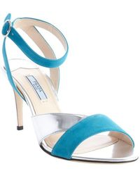 Prada Teal and Silver Suede Leather Strappy Sandals - Lyst