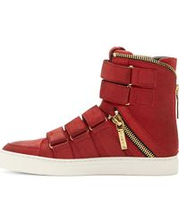 Pierre Balmain Red Brushed Suede Velcroed High_top Sneakers - Lyst