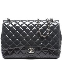 Chanel Preowned Navy Patent Leather Maxi Flap Bag - Lyst