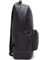 5fad0f3bab02 Kris Van Assche - Navy Pebbled Leather Tassel Trim Backpack - Lyst