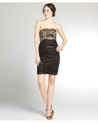 Sue Wong Black And Gold Woven Strapless Embellished Dress - Lyst