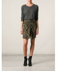 Etoile Isabel Marant Leopard Print Ruched Skirt - Lyst