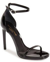 Saint Laurent 'Jane' Ankle Strap Leather Sandal - Lyst
