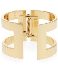 Lydell NYC - Shiny Golden Structured Cutout Cuff Bracelet - Lyst
