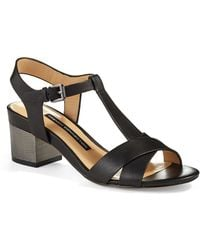 French Connection Lara T-strap Sandals - Black