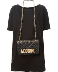 Moschino Shift Dress with Quilted Shoulder Bag - Lyst