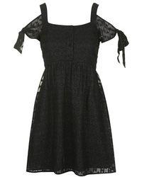 Topshop Burnout Cold Shoulder Dress - Lyst