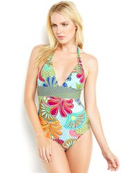 Trina Turk Printed Halter One-Piece Swimsuit - Lyst