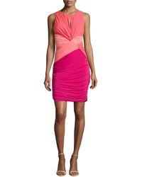 Halston Heritage Colorblock Twist-waist Dress - Lyst