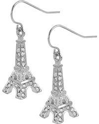 Betsey Johnson Silvertone Crystal Eiffel Tower Drop Earrings - Lyst