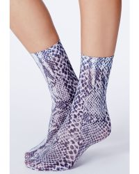 Missguided - Pythona Snake Print Ankle Socks - Lyst