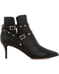 Valentino Rockstud Leather Ankle Boots - Lyst
