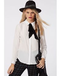 Missguided Bugsy Pussybow Blouse White - Lyst