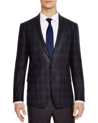 Bloomingdale's Charcoal/blue Windowpane Slim Fit Sport Coat - Grey