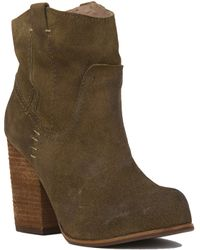 Jeffrey Campbell Showdown Taupe Oiled Suede Heeled Booties - Lyst