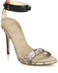 Cole Haan Cyro Leather & Snake-Embossed Leather Sandals animal - Lyst
