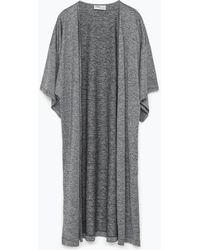 Zara Kimono Style Blazer gray - Lyst