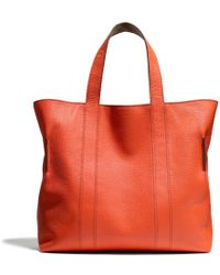Coach Bleecker Reversible Bucket Tote in Pebbled Leather red - Lyst