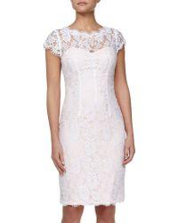 ML Monique Lhuillier Lace Cutout Sheath Dress - Lyst