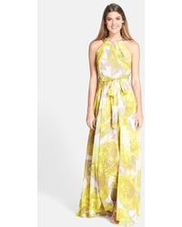 Eliza J Women'S Beaded Print Chiffon Maxi Dress - Lyst