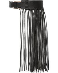 By Malene Birger Sunda Fringed Leather Belt - Black