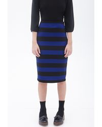 Forever 21 Striped Knit Pencil Skirt - Lyst