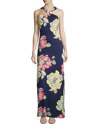 Trina Turk Demi Floral-print Maxi Halter Dress - Lyst