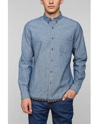 Vanishing Elephant Jacquard Hem Chambray Buttondown Shirt - Lyst