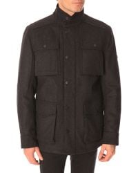 Ben Sherman Coal-Grey Wool Coat With Patched Pockets - Lyst