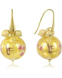 Naoto - Blown Glass Round Gold Foil Earrings - Lyst