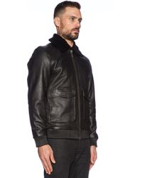 Nudie Jeans Tjalle Leather Pile Jacket With Faux Fur Collar - Black