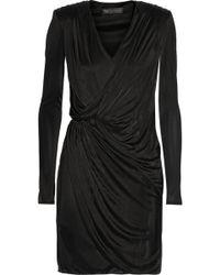 Versace Wrapeffect Satinjersey Dress - Lyst