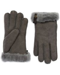 Ugg Tenny Gloves with Leather Trim - Lyst