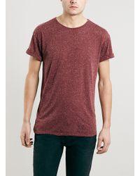 Topman Burgundy Neppy Roller Fit T-shirt - Lyst