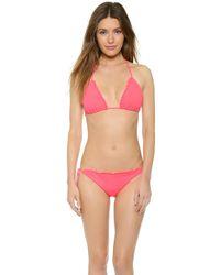Shoshanna Neon Ruby Triangle Bikini Top - Neon Ruby - Lyst