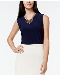 Cece by Cynthia Steffe Solid Sleeveless Top - Blue