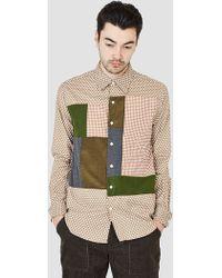 Rough & Tumble - Cut & Sew Block Shirt Beige Small Polkadot - Lyst