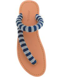 Maslin & Co - M'o Exclusive Striped Terry Slide In Navy And Light Blue - Lyst