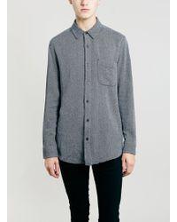 Topman Blue Textured Longer Length Long Sleeve Shirt - Lyst