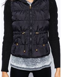 Lipsy - Padded Jacket with Knit Sleeves - Lyst