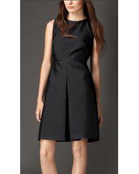 Burberry Silk Blend Skirted Dress - Lyst