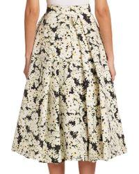 Nicholas Pleated Daisy-Print Midi Skirt black - Lyst
