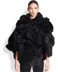 Junya Watanabe Mixed-media Faux Fur Cape - Lyst
