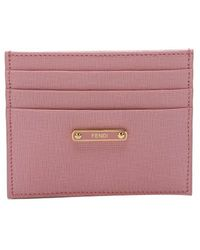 Fendi Pink Leather Card Holder - Lyst