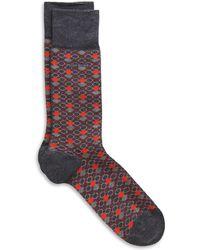 Hugo Boss Rs Design Us  Stretch Cottonblend Multicolored Circle Pattern Socks - Lyst