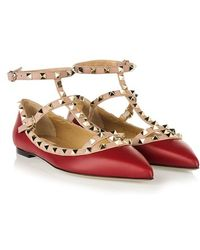 Valentino Red Leather 'Rockstud' Ballerina Shoes With Straps - Lyst