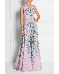 Lela Rose Floral-Print Cotton-Voile Gown - Lyst