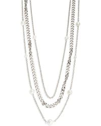 Panacea - Three Row Faux Pearl Chain Necklace - Lyst