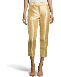 Halston Cropped Dupioni Ankle Pants - Lyst